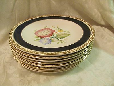 Crown Ducal England 8 flower plates cobalt blue gold Pansy Camilia Clematis Rose