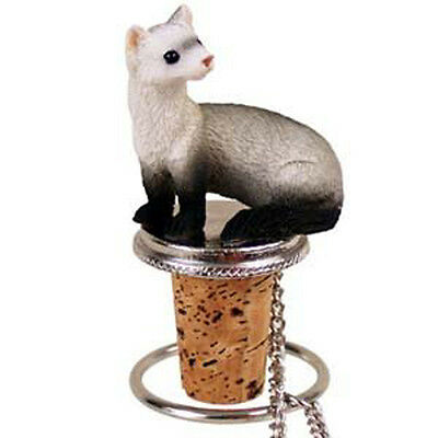 FERRET Pet Hand Painted Figurine Wine Bottle Stopper