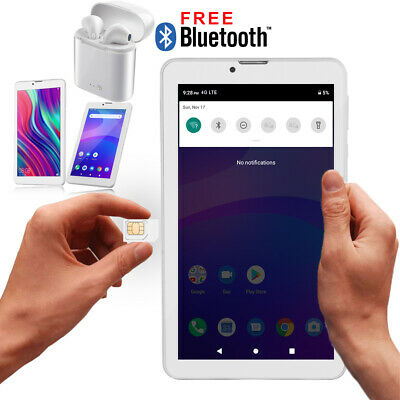 "White 7"" 4G Android 9.0 Tablet Dual Camera WiFi Google Play Store Earbuds Bundle"