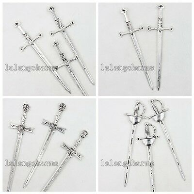 10/50pcs Antique Silver Alloy Sword Charms Jewelry Findings Nice Collectable LC