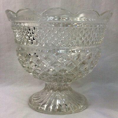 "Vintage Wexford Diamond Cut 8"" Pedestal Fruit Bowl by Anchor Hocking"