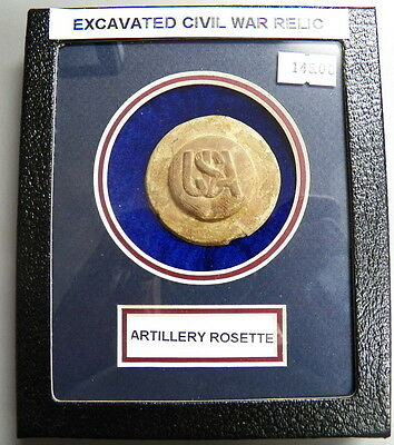 Excavated Civil War US Artillery Intertwined USA Rosette In Matted Display Case