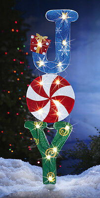 "LIGHTED 42"" JOY CHRISTMAS OUTDOOR HOLIDAY YARD DECOR NEW"
