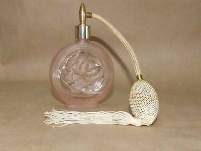 VTG Art Deco SILVESTRI Pressed Frosted Pink Glass Rose & Atomizer Perfume Bottle