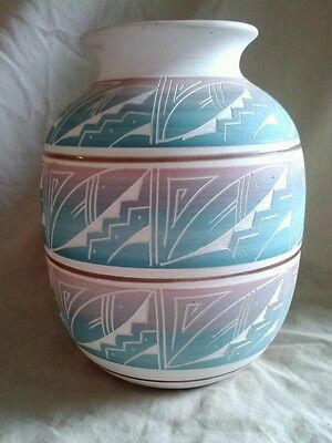 Mexican Indian Pottery Vase Artist Signed R. Gonza Carved Geometric Mexico