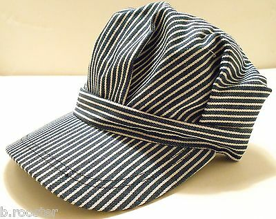Railroad Train Engineer Hat Child Toddler Small Size Adjustable Velcro Strap