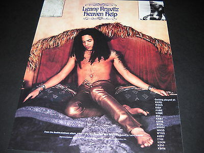 LENNY KRAVITZ reclines against bed headboard HEAVEN HELP 1994 Promo Poster Ad