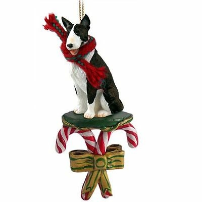 Bull Terrier Brindle Dog Candy Cane Christmas Tree ORNAMENT