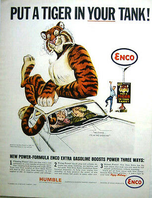 1964 HUMBLE OIL ENCO PUT A TIGER IN YOUR TANK, NO EMMA IT'S IN THE GASOLINE - AD