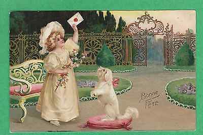 Cute LITTLE GIRLin a GARDEN w/a LETTER & her DOG on a PINK PILLOW  CLAPSADDLE