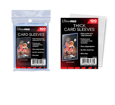 (200) Ultra Pro Trading Card Sleeves (100) Regular + (100) Thick 1 Pack Of Each