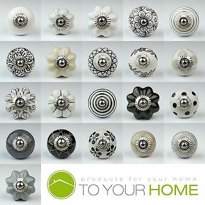 Black White Silver Grey Ceramic Door Knobs Handles Furniture Drawer Cupboard