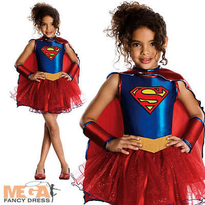 Kids Supergirl Tutu Halloween Superhero Girls Fancy Dress Film Costume