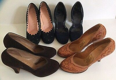 Woman's VINTAGE SHOES - LOT OF 4 PAIR -  Size 5 1/2 To 6 - 1940's- VINTAGE SHOES