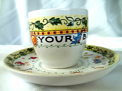 "Mint HTF RARE Mary Engelbreit ""COUNT YOUR BLESSINGS"" Cup & Saucer set"