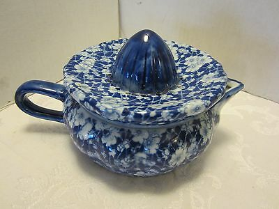 Victoria Ironstone ware Calico Chintz Juicer Reamer Flow Blue & white 2 pieces