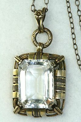 Vintage Art Deco Gold Over Sterling Silver Square Faceted Rock Crystal Necklace