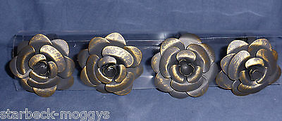 Shabby Chic Rose Napkin Rings Set Of 4 Metal In Antique Gold Colour Vintage Look