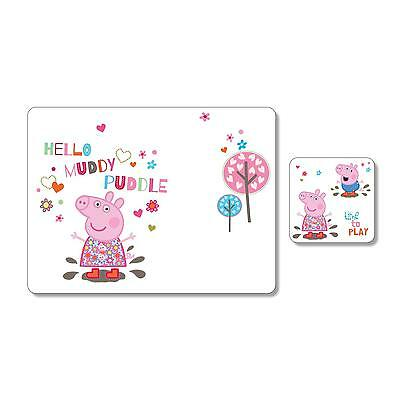 Portmeirion Peppa Pig Cork Backed Childs Kids Table Placemat & Coaster Set Gift