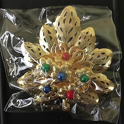Lot of 12 Gold Leaf Brooches