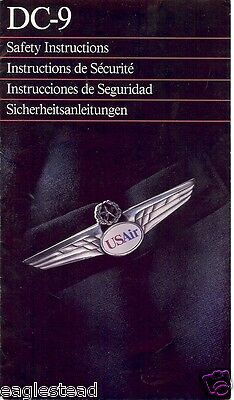 Safety Card - US Air - DC-9 - 1993  (SC999)