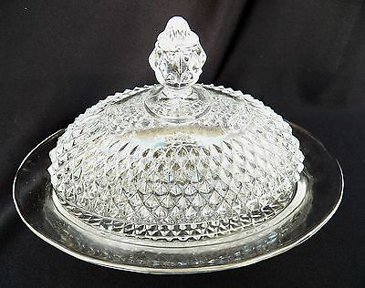 VTG INDIANA GLASS DIAMOND POINT CLEAR OVAL BUTTER DISH & LID