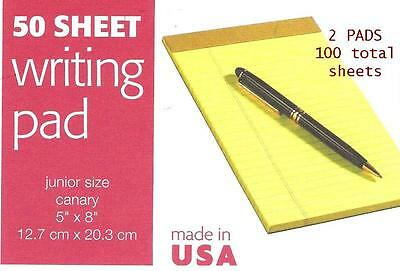 "2 pk Jr SIZE 5 x 8"" YELLOW LEGAL PADS lined 100 SHEETS Tops 1469 - USA Note Pads"