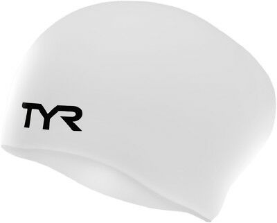 TYR Long Hair Silicone Swim Cap White Long-Hair Swimming Caps One Size Fits Most