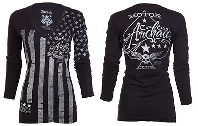 Archaic Affliction Womens L/S T-Shirt NATION American USA FLAG Sinful S-XL $58