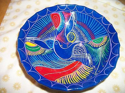 MEXICAN HAND PAINTED POTTERY CLAY BOWL WITH FEET