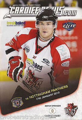 CARDIFF DEVILS v NOTTINGHAM PANTHERS (Elite Ice Hockey League 17.1.10) Programme