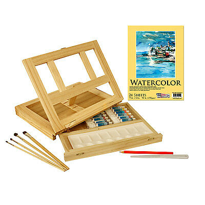 US Art Supply 21 Piece Watercolor Painting Set with Wooden Table Easel & Drawer