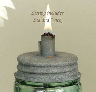 3 Mason Jar Oil Lamp LIDS ~ Fill w/ Lamp or Citronella Oil ~ Outdoor Gatherings