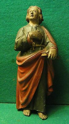 """ST JOHN THE EVANGELIST Antiq end 17th/ beg.18th Cent.PEWTER FIGURE STATUE 9,25"""""""