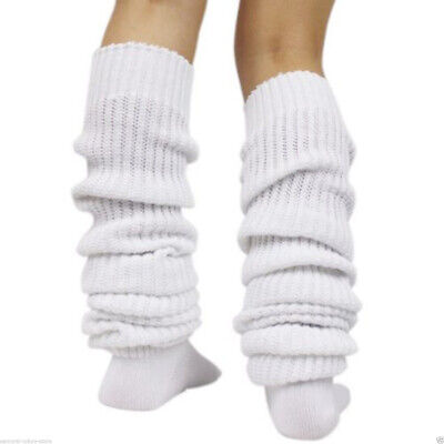 Fashion Women Winter Leg Warmer Crochet Japanese Slouch Socks Boot Stockings Wht
