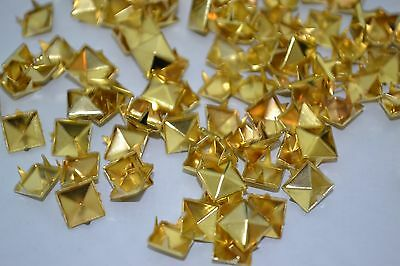 100PCS 6mm Square Pyramid Punk Spike Studs Spots Fashion Rivet DIY Bags golden