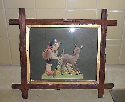 Antique - Vintage Tramp Art Frame with Western Germany Embossed Cut Out