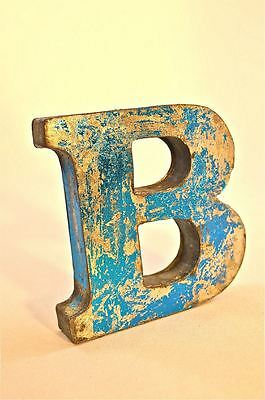 Fantastic Retro Vintage Style Blue 3D Metal Shop Sign Letter B Advertising Font