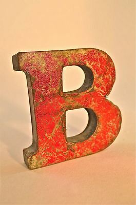 Fantastic Retro Vintage Style Red 3D Metal Shop Sign Letter B Advertising Font