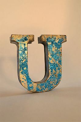 Fantastic Retro Vintage Style Blue 3D Metal Shop Sign Letter U Advertising Font