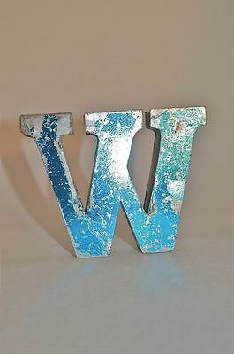 Fantastic Retro Vintage Style Blue 3D Metal Shop Sign Letter W Advertising Font