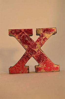 Fantastic Retro Vintage Style Red 3D Metal Shop Sign Letter X Advertising Font
