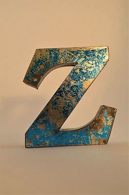 Fantastic Retro Vintage Style Blue 3D Metal Shop Sign Letter Z Advertising Font