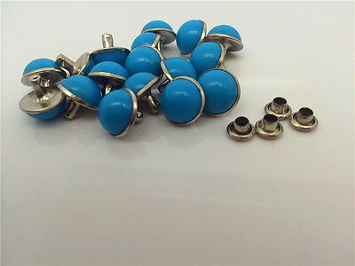 Hot 20 pcs 10mm accessories Blue rivets leather craft punk stuff studs DIY ZD04