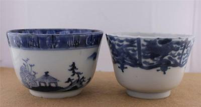 Lot 2 Japanese Edo Antique Blue White Rice Soup Bowl Dragon Arita Imari Samurai