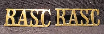 RASC Great Britain WWII Army Large Brass Shoulder Titles