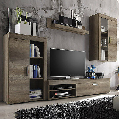 eck wohnwand sonoma eiche nachbildung wohnzimmer highboard schrank vitrine. Black Bedroom Furniture Sets. Home Design Ideas