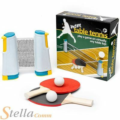 Instant Table Tennis Set Great Travel Game With Extendable Net, Bats & Balls