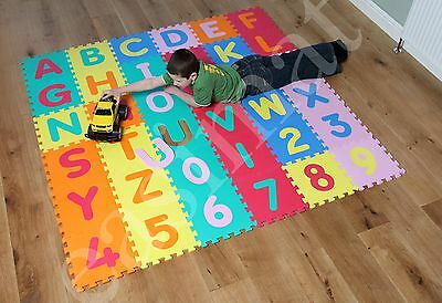 ABC 123 Alphabet Numbers Jigsaw Puzzle Soft Foam Play Floor Mats Child Kid Large