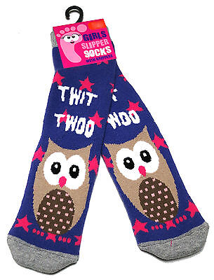 Young Girls Cute Owl Twit Twoo Cosy Slipper Socks Uk Size 6-8.5 /  2-3 Years